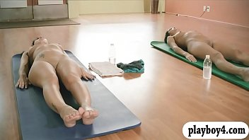 Pretty girls hot yoga session while nude