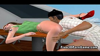 3D cartoon hottie gets her pussy licked on the boat