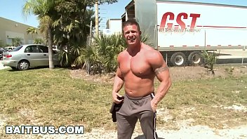 """BAIT BUS - Muscle Hunk """"The Rock"""" Goes Gay For Pay In Our Van"""