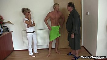 His blonde GF fucked by old dad