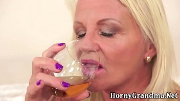 Horny grandma gets facial