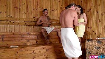thumb Fuckin Lucie Wilde Hot Fuck With 2 Guys In The Sauna