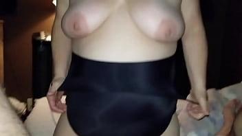 thumb Sexy Bbw Little Black Dress Bj And Cum On Tits