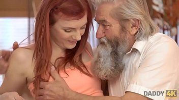 Streaming Video DADDY4K. Lovely redhead has crazy sex with old man while watching TV - XLXX.video