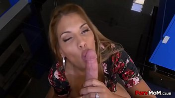 Latina mommy role-playing blowjob for son