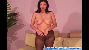 Nylon fetish busty babe sensual strip