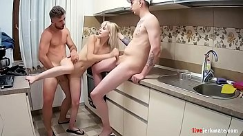 Young skinny stepsister threesome in the kitchen