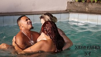 Naked in the pool penetrated by black features