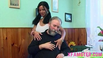 Horny old grandfather takes petite young tiny wet amateur teen fuckhole hard
