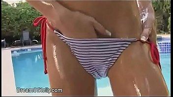 Blue white striated bikini girl (Jafa Edit - Sharpened) [Girl strokes her Panty in Loop]