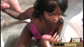 Ebony chick fucked hard in group sex action 5
