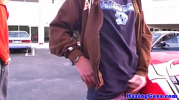Finger screwed amateur wanking cock outdoors...