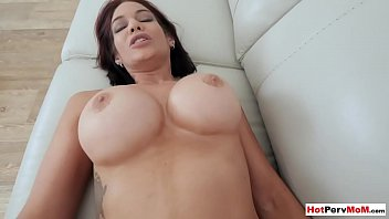 My busty mature stepmother calms me down with her pussy