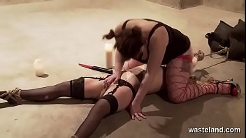 Dominant Lesbian Rides Bound Submissive Blondes Dildo Covered Face