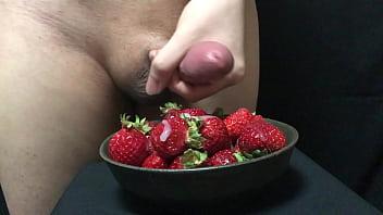 Cum on strawberries