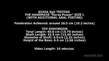 Giada Sgh Tests the Horse Power Handmade Dildo Size L and gets 26.5cm (10.4 inches) up her ass with Anal Fisting TWT008 thumbnail