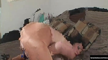 vibrating vagina busty samantha grace cums in tight padded pantyhose