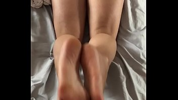 Reverse footjob from hot ass wife