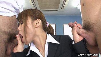 Asian Teen Sucking And Titty Fucking Two Hot Dicks