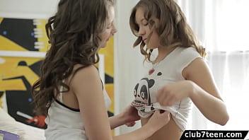 Teen Schoolgirls Threesome With Lucky Guy