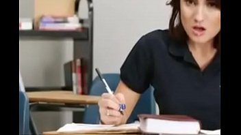 Hot-sexy beautiful girl crazy for teacher dick during study
