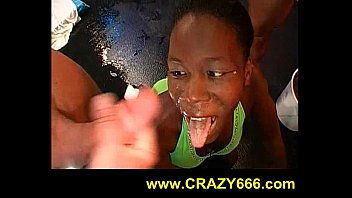 piss and cum on African black babe