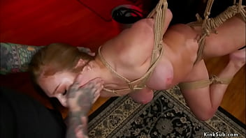 Natural busty slave threesome fucked