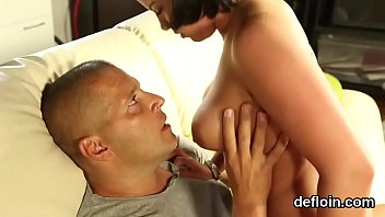 Fervid girl stretches narrow twat and gets deflorated