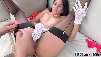 Brit milf and ethnic lesbian in stockings
