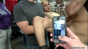 Blonde sucks and fucks dick in public