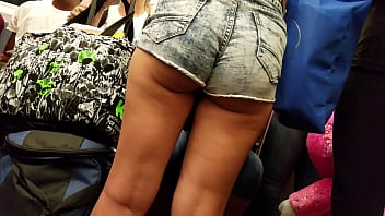 Pawg booty shorts on train
