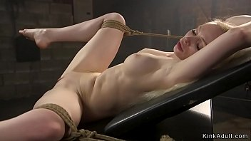 Sexy Russian blonde is tied and vibed and whipped by baldheaded master then anal fucked till gets cumshot