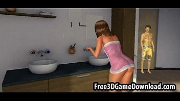 Beautiful 3d cartoon babe with long brown hair being touched
