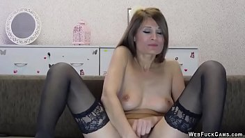 Camgirl in stockings masturbates