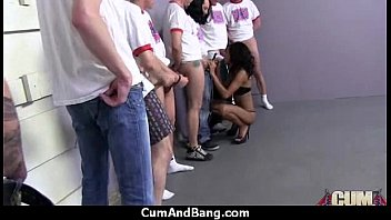 Black chick deepthroats a group of white studs and gets rewarded with cum 29