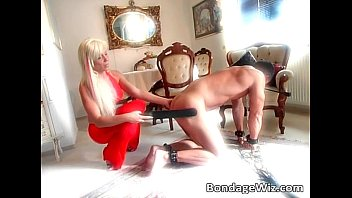Hot busty blonde spanks dudes butt