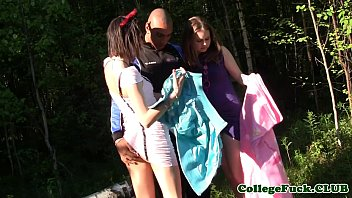 thumb Euro College Beauties Share Cock In Forest