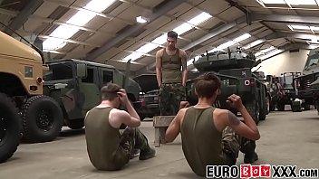Military twinks spitroast handsome inked sergeant