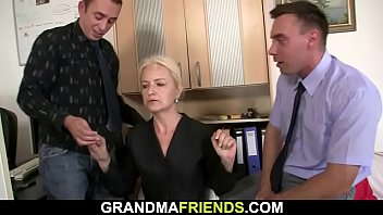 Hairy granny spreads legs for...