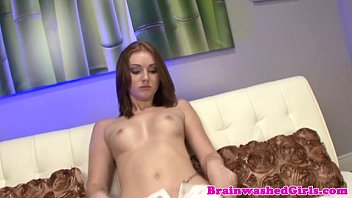 Hypnotized petite teen plays with herself