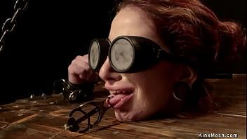 Slim blindfolded redhead tormented