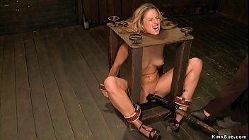 Blonde is tormented in sadistic bondage