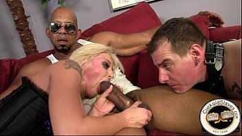 Blonde black cock whore wife loves thick black cock