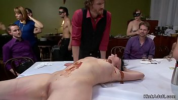 Slave dp fucked with food in public