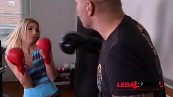 Slim petite blonde babe Missy Luv rides boxing instructor'_s hard veiny dick GP415