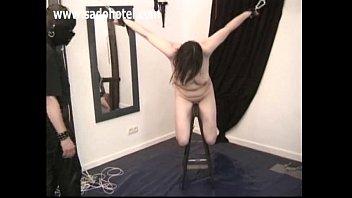 Brunette bdsm amateur slave tied up by master
