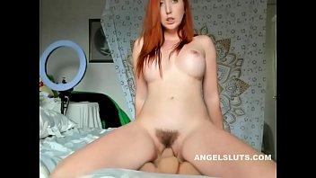 thumb Lustful Unshaven Redhead Slut Dildo Fucks Her Poontang