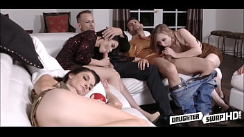 Two Dad's Swap Fuck Teen Daughters On New Years Next To Sleepy Moms