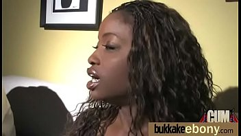 Ebony Cum Slut Hottie Bukkake Party 12