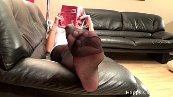 Stocking footjob wife cum feet